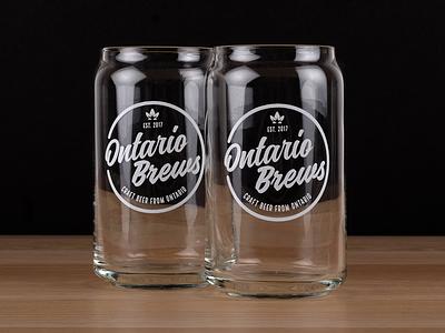 Ontario Brews Branding popcan glass local drink brews beer ontario logo branding
