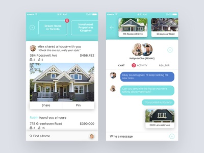 Real Estate App feed chat house iphone mobile app estate real