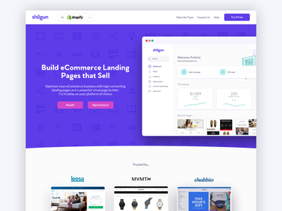 Get Shogun Landing Page landing page design sell ecommerce commerce purple marketing web landing page lander shogun