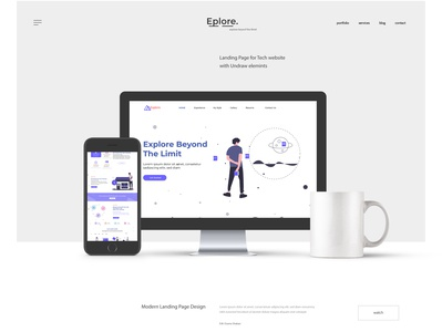 Landing Page Design, Explore. Beyond the limit undraw webdesign landingpage ux design