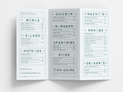 Menu Card for a high-end Sports bar