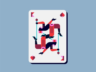 King of Spades people profile deck cards ballroom gay spades king abstract double meaning wit flat design vector minimal illustration