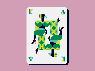 King of Clubs pride gay art gay ballroom playing cards playingcards club king abstract adobe illustrator digital art double meaning wit flat design vector minimal illustration