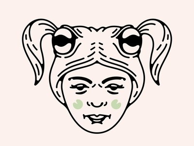 Toadally Rockin' the New 'do frog toad girl hair linear abstract icon logo double meaning wit flat design vector minimal illustration