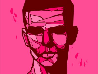 Man of Stone portrait pink stone style technique abstract digital art flat design vector minimal illustration
