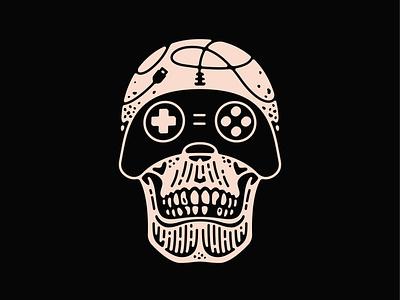 Gamer Skull tattoo controller gaming skull digital art icon logo double meaning wit flat vector design minimal illustration