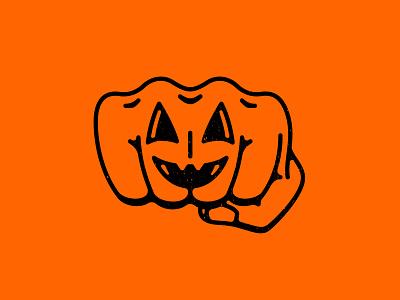 Pumpkin Punch hand fist jackolantern lineart tattoo punch pumpkin holiday halloween digitalart icon branding logo double meaning wit flat vector design minimal illustration