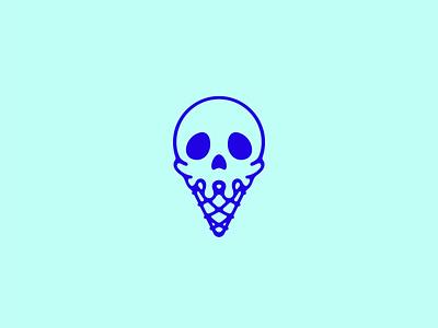 Killer Ice Cream holiday halloween vectober ice cream cone icecream dessert skull digital art icon logo double meaning wit flat vector design minimal illustration