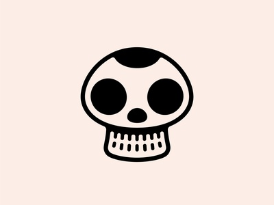 Deadly Mushroom tattoo poison death skull mushroom vectors lineart digital art icon logo double meaning wit flat vector design minimal illustration