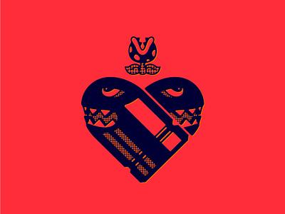 Super Mario Valentine valentine flower heart bullet super mario bros mario tattoo digital art icon logo double meaning wit flat vector design minimal illustration