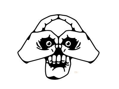 A handy skull line art hand hands skull abstract digital art icon double meaning wit logo flat vector design minimal illustration