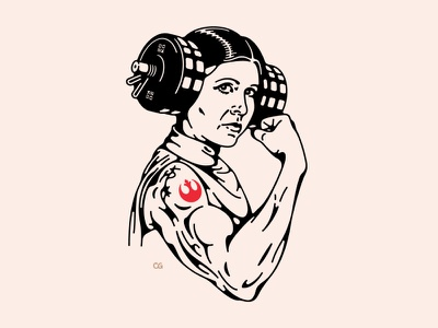 Tough Princess line art bodybuilding bodybuilder weightlifting rebels leia princess leia branding princes starwars abstract digital art double meaning wit logo flat vector design minimal illustration