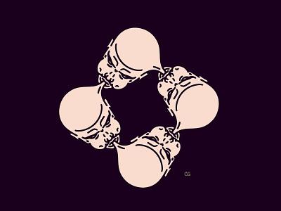 Blow yo mind balloon mind abstract digital art icon double meaning wit logo flat vector design minimal illustration