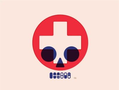 Medicine Skull abstract medicine skull wit logo flat vector design minimal illustration