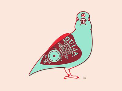 Spooky Bird technique style art lineart pigeon bird ghosts ouija doublemeaning wit logo flat vector design minimal illustration
