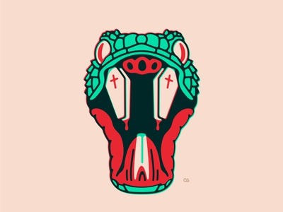 Deadly Snake technique coffin death snake abstract graphic design wit logo flat vector design minimal illustration