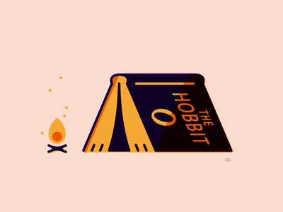 Get lost in a book symbol book hobbit camping wit logo flat vector design minimal illustration