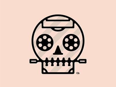 Foosball Skull abtract skull soccer foosball line art icon wit logo flat vector design minimal illustration