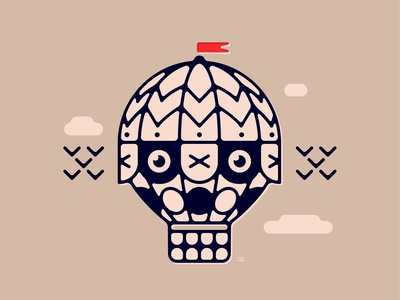 Skull Balloon face abstract hot air balloon line art offset balloon skull wit logo flat vector design minimal illustration