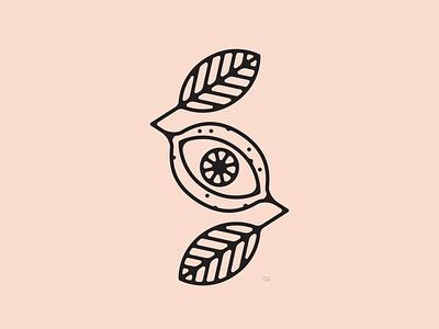 Leyemon lime lemon eye graphic design abstract icon tattoo line art logo flat vector design minimal illustration