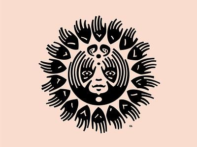 Hand Sun tribal hand sun cutout style tattoo icon wit logo flat vector design minimal illustration