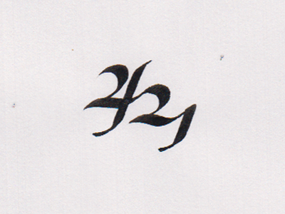 421 Shot numbers typography 421 broad-nib
