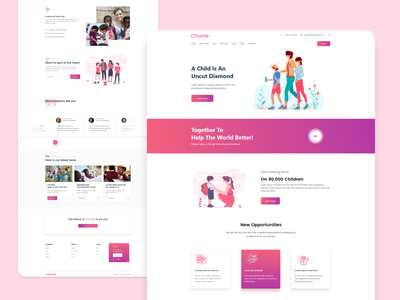 Child Care landing page redesign design web app ux ui careers page landing free orphans child care child