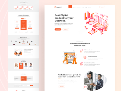 Digital product Landing page redesign branding illustration free react design web ui sass ux app digital product