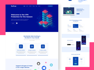 VPN Landing Page Design react typography blog free landingpage design web vps hosting vpn ui ux