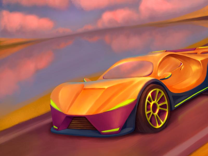 sport car sunset sportcar car gold art cartoon illustration cgart