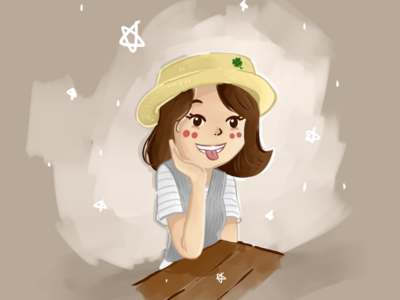 Little girl and yellow hat