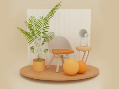 Månsken-I render plants web uiux ui ux chair orange c4d blender 3dart 3d design adobe