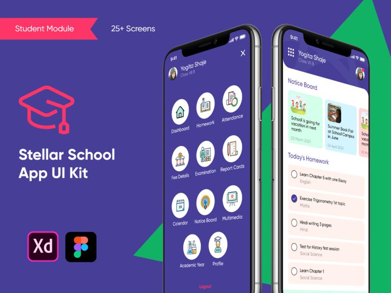 Stellar School App - Student UI Kit school management homework app school app ui kit school app ui kit student tracking school management system