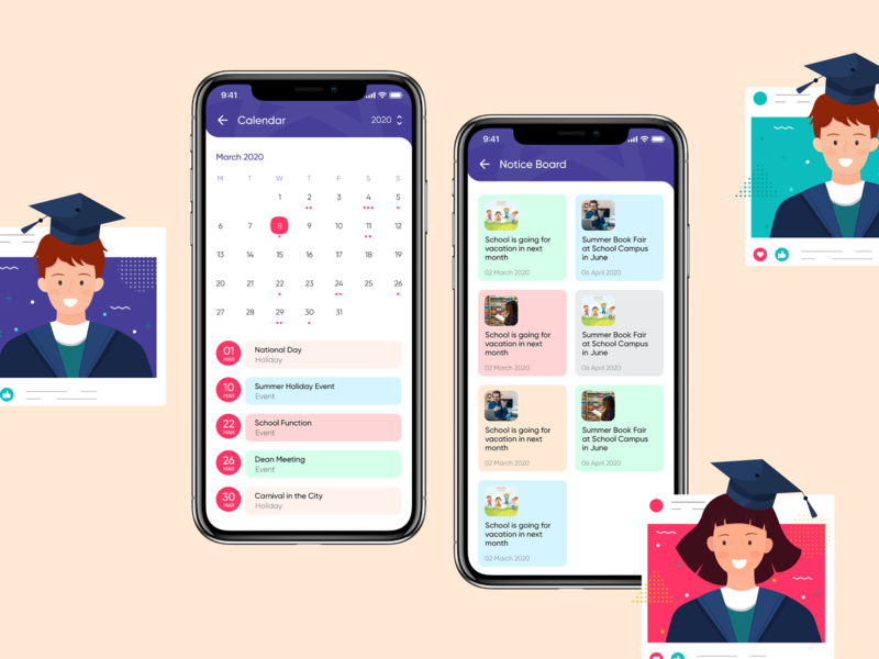 School Event Calendar & Notice Board education app study ui kit mobile app ui design student app