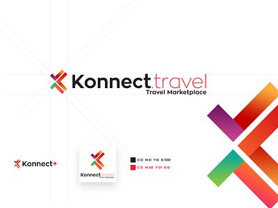 Konnect.travel Logo Design zona font multicolour illustration brand k character concept branding design travel logo