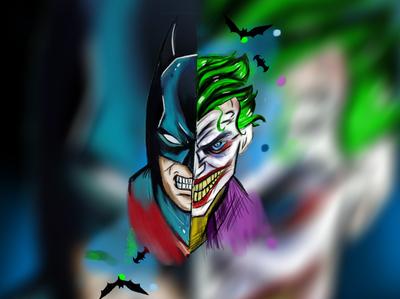 joker vs batman hand-drawn artwork