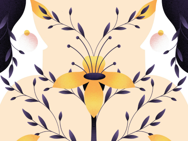 Blooming flat nature scent flower procreate illustration