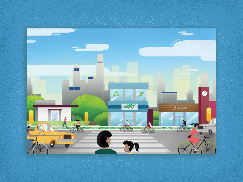 Eco-Street trees eco green illustration concept art design