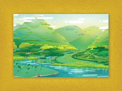 Verdant Greens nature river trees mountains illustration digital concept art illustration