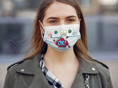 face mask vector ux design modeling illustration