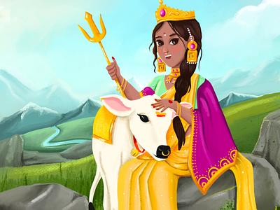 Shailputri- devi from India procreate painting concept art book illustration kids illustration colour comic cute mythology mythical illustration character design