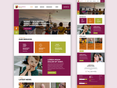Redesign of the landing page Down Syndrome Australia down syndrome association landing page graphic design ui ux design