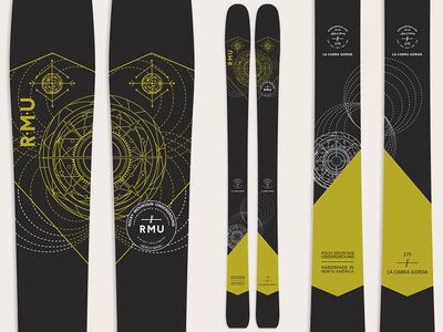 La Cabra Gorda celestial dark black backcountry winter geometric ski graphics skis