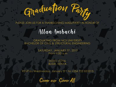 Simple graduation party invite 1