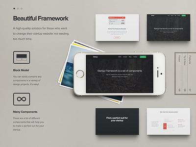 Startup Framework video html css ui kit components site project ux ui framework startup