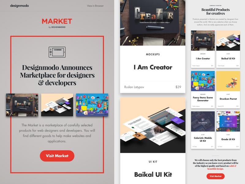 Market Email Newsletter Freebie market announce sketch freebie free ui kit newsletter email
