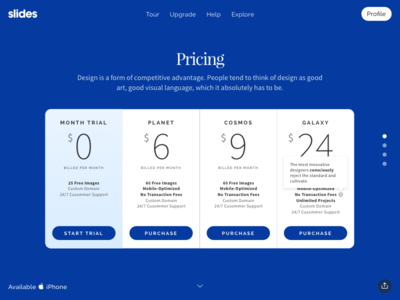 Slides: Pricing Table Blue slides framework ui ux slide psd sketch ui kit photoshop pricing price table pricing table