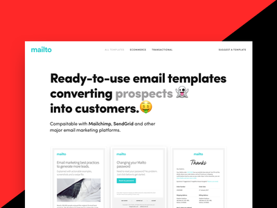 Mailto: Ready-to-use email templates template product launch ecommerce fashion purchase newsletter sendgrid mailchimp email logo email templates