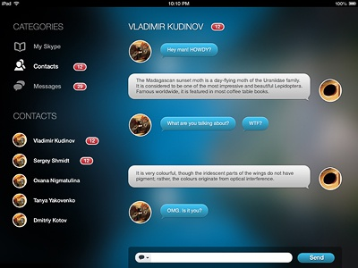 Some Skype experiments for iPad skype concept chat contacts balloon messgae ipad pandora