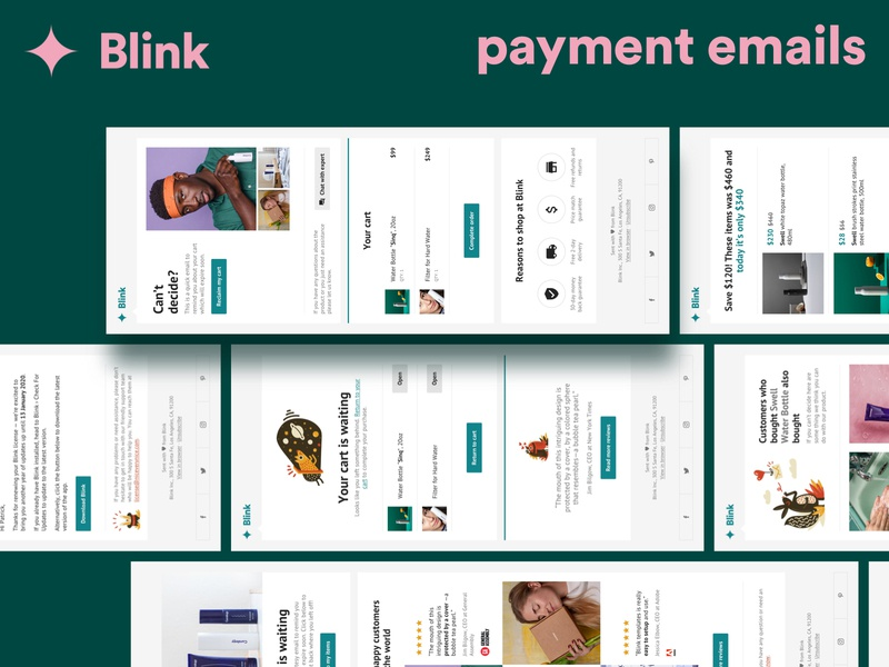 Blink: Payment Email Templates newsletter mailchimp email templates design receipt css abandoned cart upsell cart payment email receipt email templates html email marketing email design email email template html email template